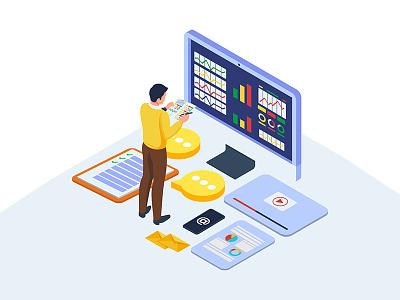 Data analysis illustration concept analysis data kit idea element strategy isometric vectors illustration branding system marketing digital app website dribbble ui creative design vector