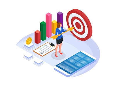 Businesswoman holding arrow to hit the target. achievement target goal success illustrations homepage website dribbble ui creative design vector strategy marketing coworkers coworker woman business arrow illustration