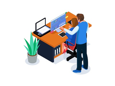 Isometric teamwork do analysis illustration concept. team technology job professional 3d illustrations character homepage website dribbble ui creative vector illustration chart workspace office analysis business people teamwork