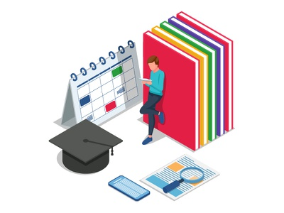 Student reading a book. Back to school illustration. collage ideas concept web 3d artwork ui dribbble creative design vector illustration elements isometric character graduation books reading student back to school