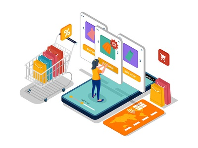 Online shopping with product list illustration concept. combination element marketing customer online store cart assets people isometric landing page character artwork design creative ui product online shopping vector illustration