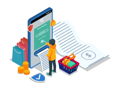 Secure payment illustration concept with isometric character interface shop payment secure app mobile online shop ecommerce asset element web isometric character artwork website dribbble creative ui vector illustration