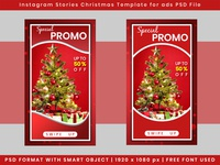 Christmas ads template for instagram stories in PSD File