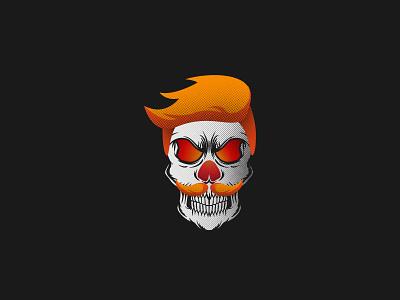 The scary handsome man character and creepy dribbbleweeklywarmup adobe illustrator illustrator scary ghoul ghouls spooky cartoon design halloween bone skull art halftone handsome skull vector illustration