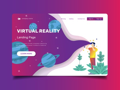 Virtual Reality Illustration for Landing Page