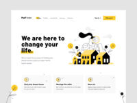 PadFinder sign up navigation ux modern header landing art typography type swiss layout bold search real estate property yellow black clean illustration website