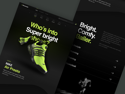 Shoescape - Really Bright Shoes yellow green product card agency illustration ecommence nike shoes depth shadow landing page homepage website branding clean layout typography dark ui black