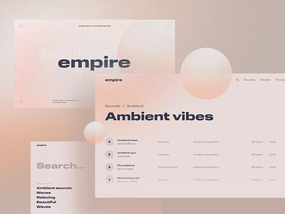 Ambient Sounds shadow depth card gradient branding typography design system texture modern clean simple spotify playlist player music dashboard platform website web app ui