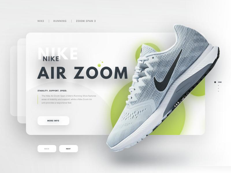 Nike Air Zoom Span 2 london new york web shadow depth running sports nike shoe card ui