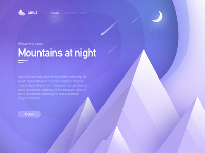Lunus 2 white glow color colour stars moon purple mountain space website ui web