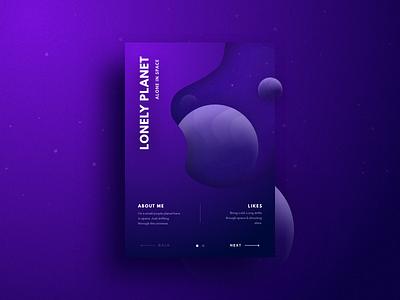 Lonely Planet ios app concept app card ui modern crypto dark card ui simpe sun shadow depth purple universe earth stars planet space website