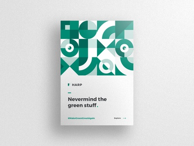 Nevermind The Green Stuff webdeisgn web simple design clean minimal abstract pattern green geometric design geometic shapes swiss branding agency illustration poster shadow depth