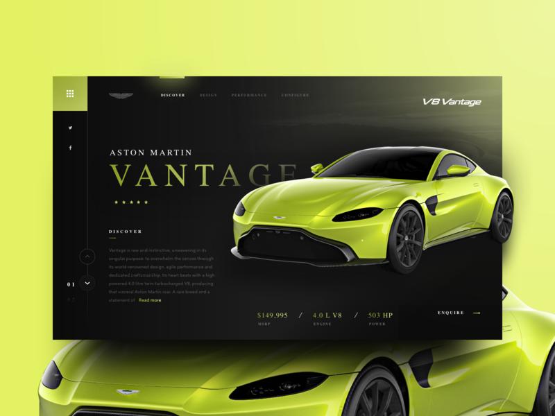 Aston Martin Vantage shadow photo logo brand typogaphy depth banner ui  ux dark car app minimal simple corporate green bright coloful header website web