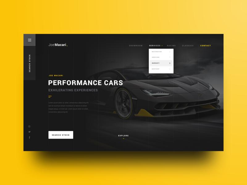 Performance Cars pattern swiss depth card lamborghini platform crypto navigation menu ecommerce grid lines simple dark minimal car landing page header website web