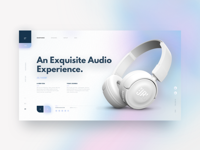 An Exquisite Audio Experience minimal simple layout navigation shadow blog header logo branding depth card crypto website ecommerce product headphones vibrant gradient color glow