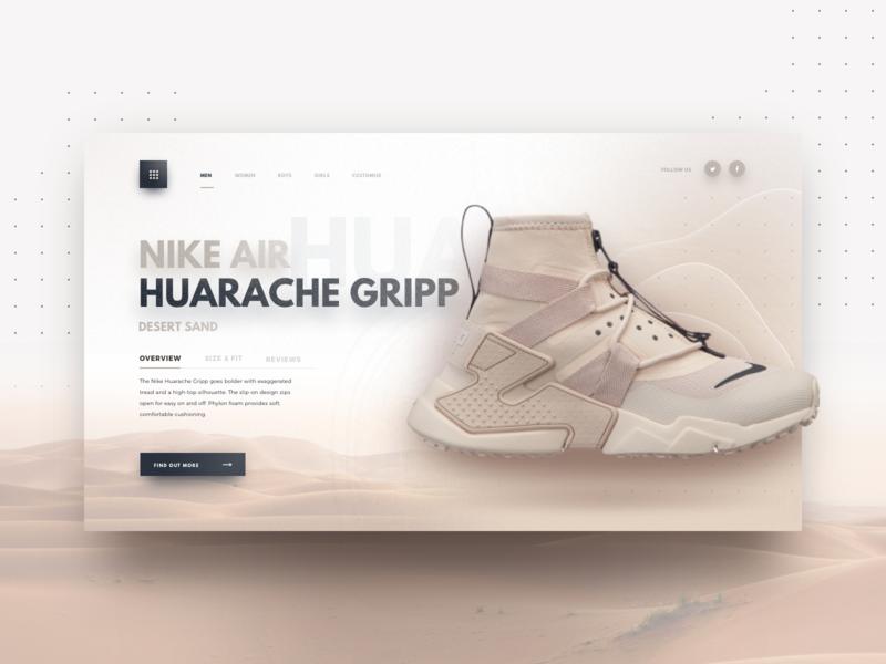 680e844290417 Nike Air Huarache Gripp app sand shoe depth card shadow typography logo  branding minimal simple purchase
