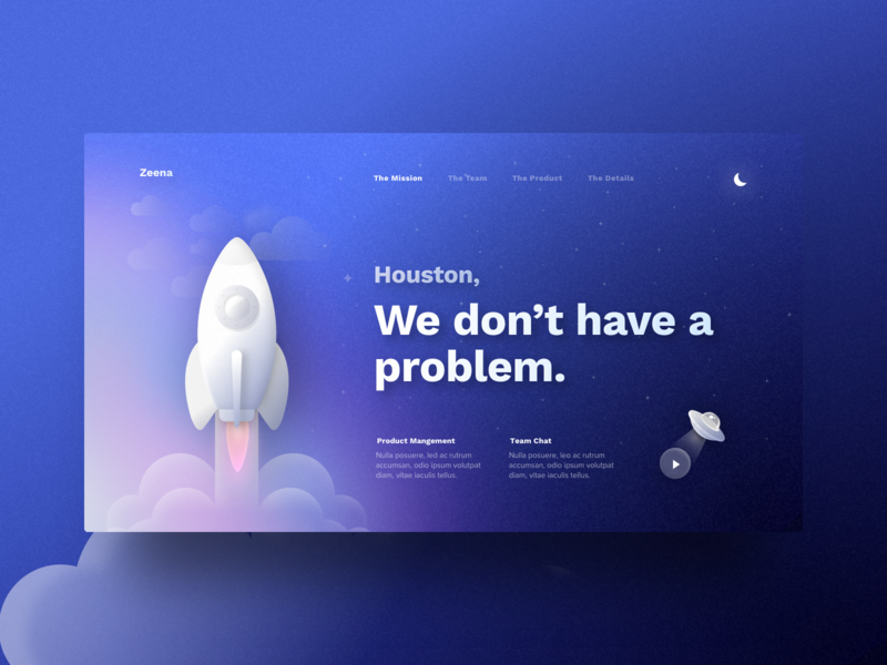 Houston We Don't Have A Problem clean layout design ecommerce sign up minimal simple design illustration simple crypto glow sky gradient shuttle colour flying abstract space landing website