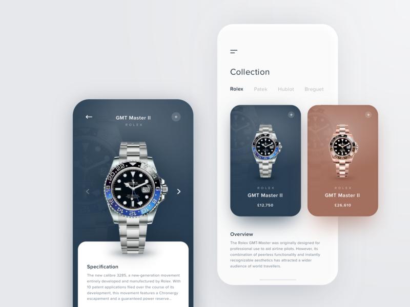 Rolex GMT Master II rolex ecommerce app navigation swiss design modern interaction grid simple design white clean minimalist web fashion watch stack card ui cards simple app  design