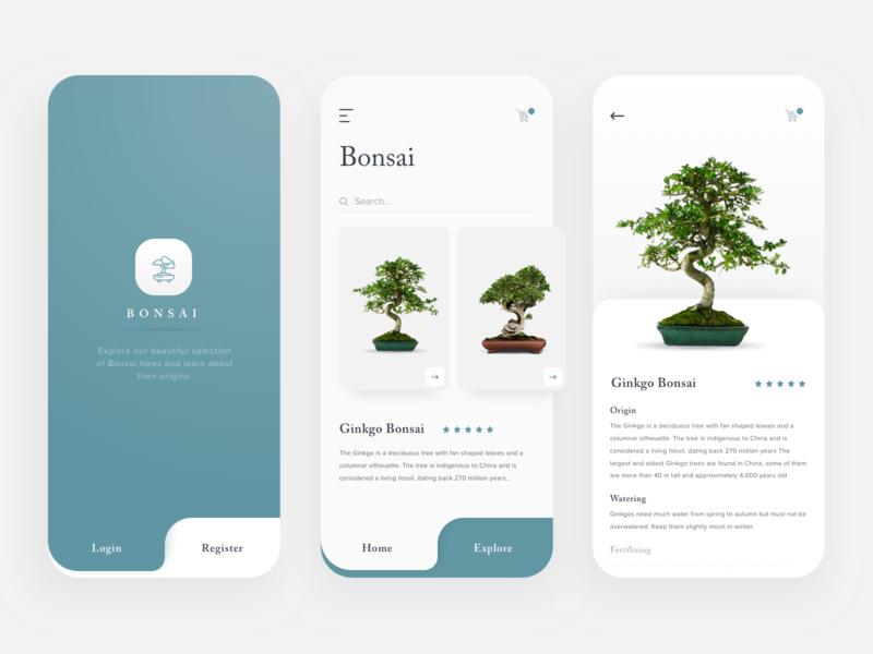 Bonsai carousel card depth interaction education website header navigation layout design swiss design education app plants zen modern minimal app simple design app