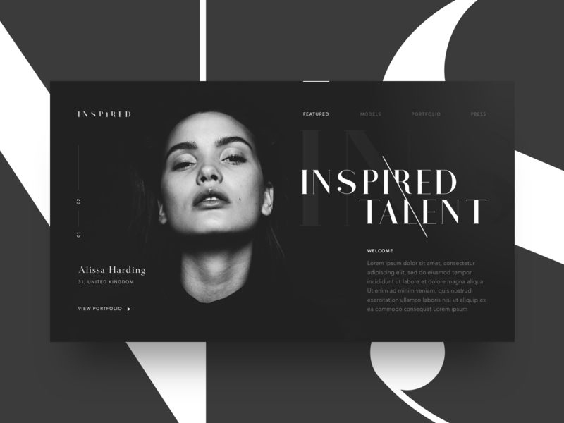 Inspired architecture swiss minimalist simple clothes model branding magazine black and white typography layout editorial fashion design card website web ui