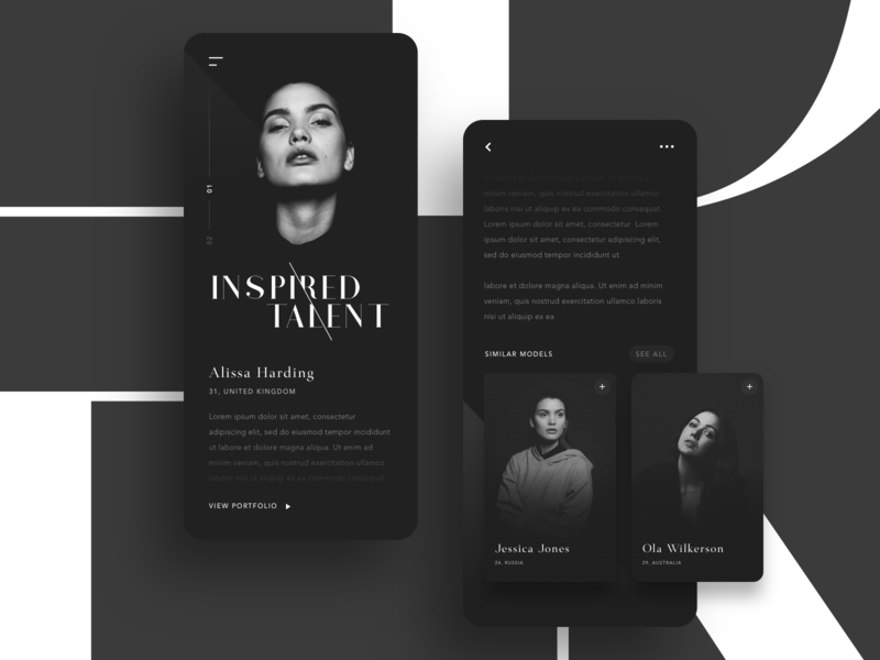 Inspired Again shadow apparel blog article landing typography grid layout clean simple minimal dark model fashion app website card ui