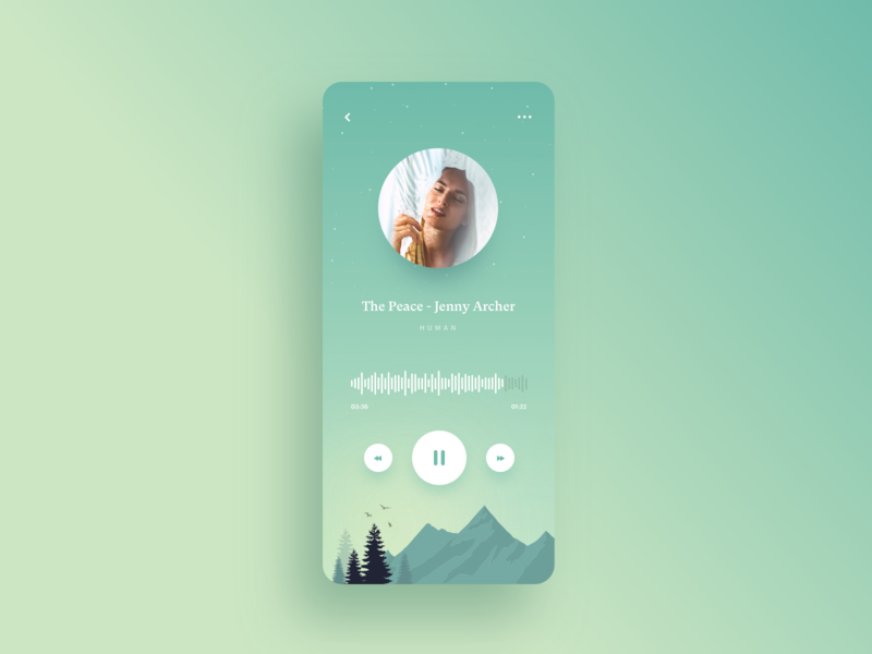 Peaceful Music Player music player shadows depth minimalist album illustration design yoga clean ui simple mountains meditation app song player podcast calm app music