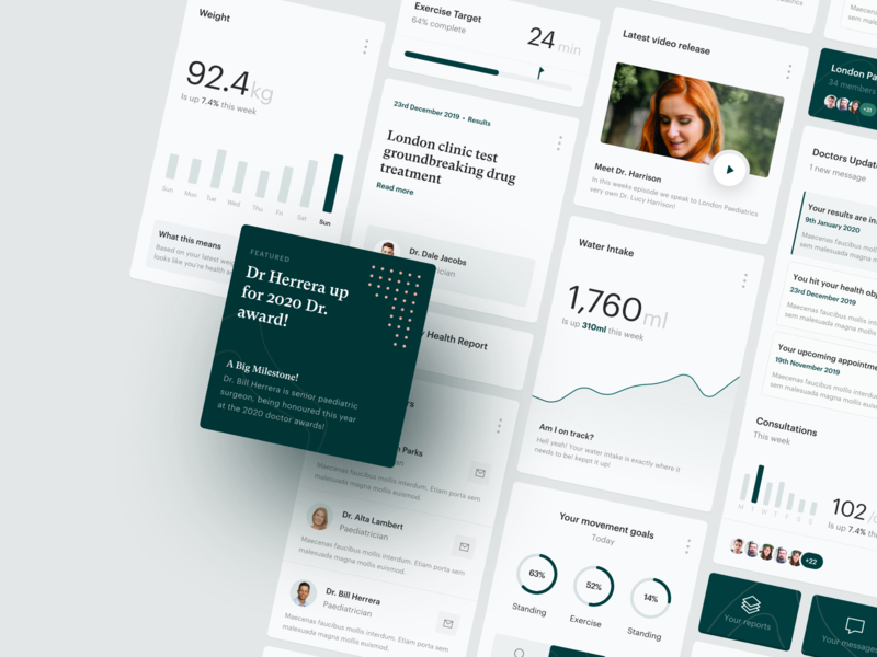 Healthtech Dashboard landing page website hospital component library grid green minimalist web clean simple product statistics cards platform doctor health data analytics healthcare dashboard