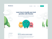 Monsters to the rescue white typography app ui hero image swiss landscape tech cards shadow depth minimalist characters monsters playful clean simple illustration branding web landing