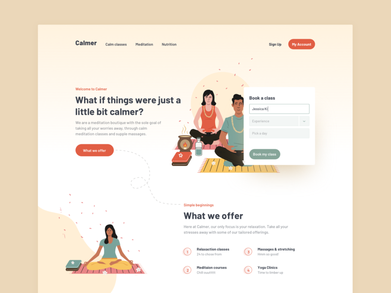 Calmer courses education fitness meditation depth card form layout simple typography clean peaceful relax calm yoga workout web design landing website illustration