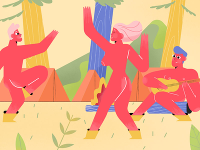 Naked Hiking in Germany - Editorial Illustration