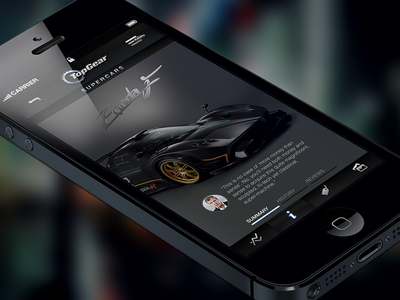 Top Gear Supercar App iphone dark stats dashboard grey ui gui shopping supercar top gear mobile app car