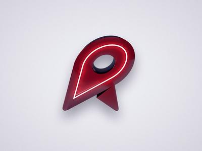 Rendezview Logo branding c4d 3d red light