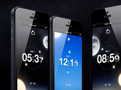 Time & Weather App mobile app weather time date iphone moon sun temperature ui ux location