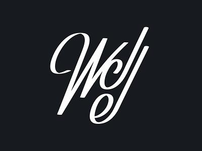 WDJ Enterprises lettermark calligraphy flat illustrator logo branding