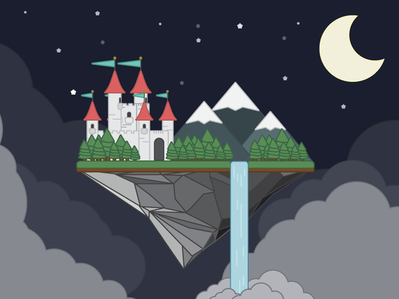 A Child's Dream book flat waterfall dreams night castle vector island