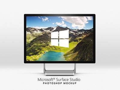 Microsoft Surface Studio Mockup touchscreen photoshop mockup surface studio microsoft