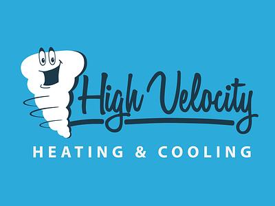 High Velocity script branding cyclone twister hvac tornado logo