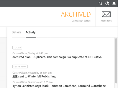 Archive Media Campaign platform ui layout