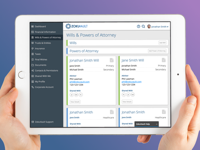 ZokuVault Estate Planning legal dashboard tablet fin-tech