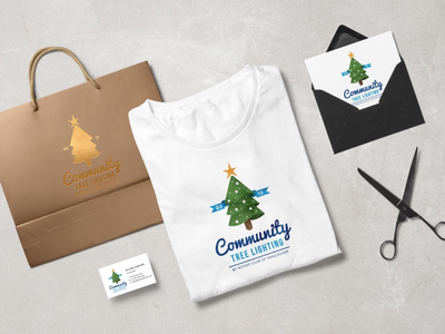 Community Tree Lighting Logo illustration branding logo