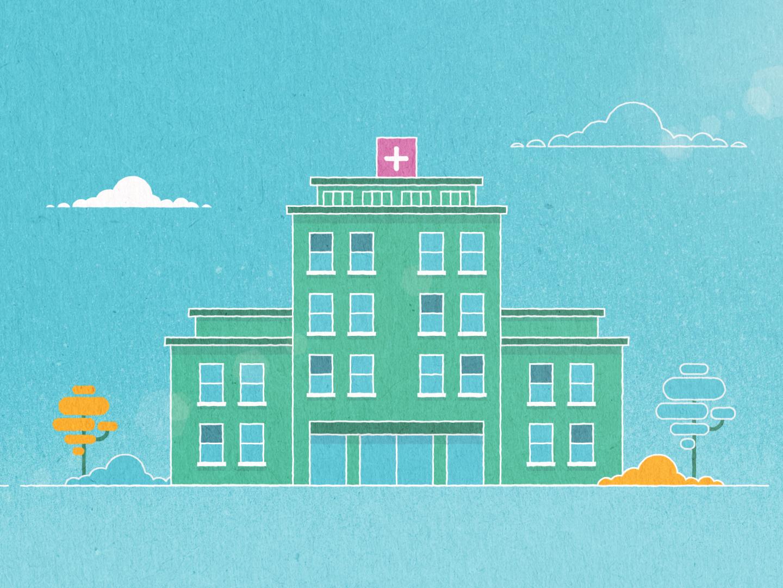Hospital windows building clouds tree hospital medical texture illustration vector