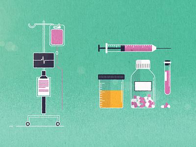 Medical Props blood donation medical samples injection heart monitor medicine pills blood illustration vector
