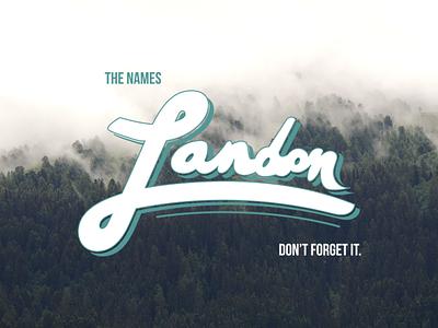 Lettering - Landon landon cloudy trees exploration lettering typography type drawing photoshop sketch illustrator cursive
