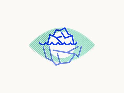 Icebergs print halftone eyeball iceberg illustration