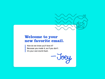 Joey Mail branding letters kangaroos email copy writing identity