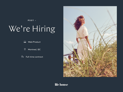 Life House is Hiring! ux product design ui