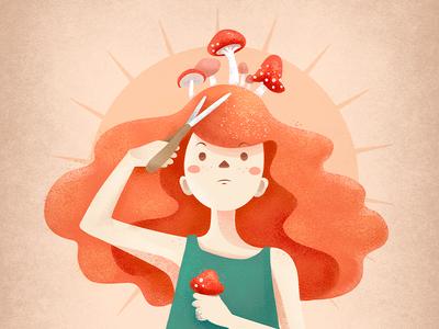 Mushrooms scissors mushrooms color vector design illustration
