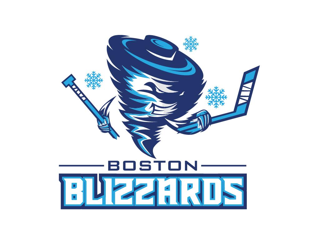 Boston Blizzards boston blizzard snowflake hockey stick hockey typography art vector logo design illustration icon logo flat design concept