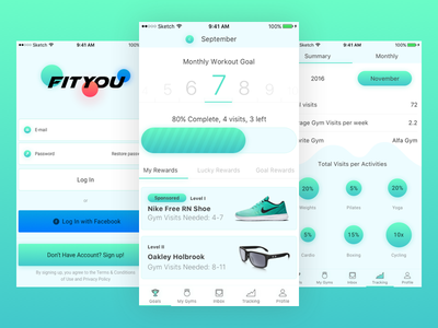 Fitness app interface (+.sketch) fitness workout 2017 light green iphone freebie sport ux ui