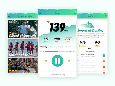 Running with Audiobooks sport audio green ui mobile fitness running